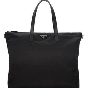 Unisex Prada Oversize Nylon/Leather Travel Tote